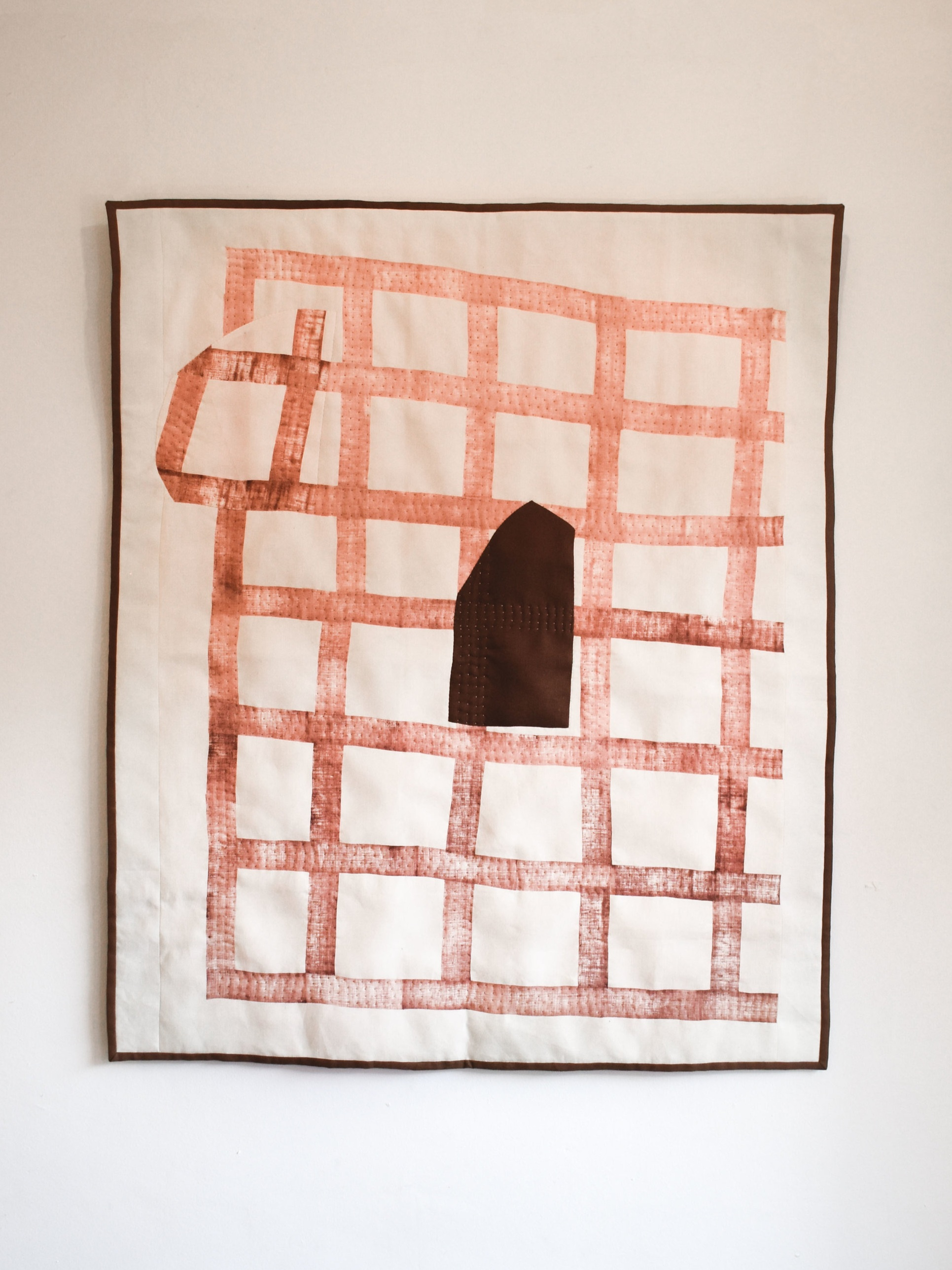 Net II - 120 x 100 cm  block printed & hand stitched linen with linen backing