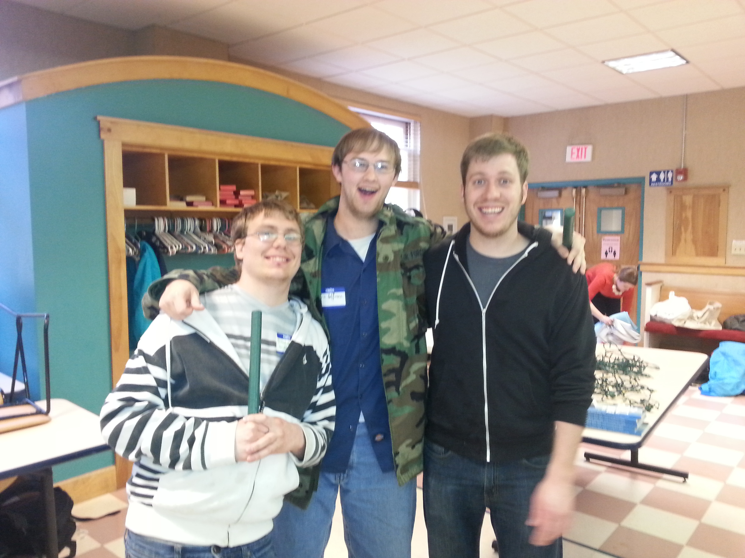 Clay (far right) with Chris (center) and Brandon, at a Cru event last year.