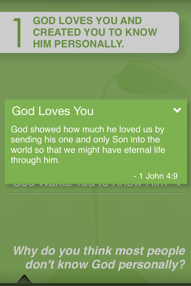 """The """"Would You Like to Know God Personally"""" portion of the """"God Tools"""" app can help you share the gospel succinctly and clear with someone."""