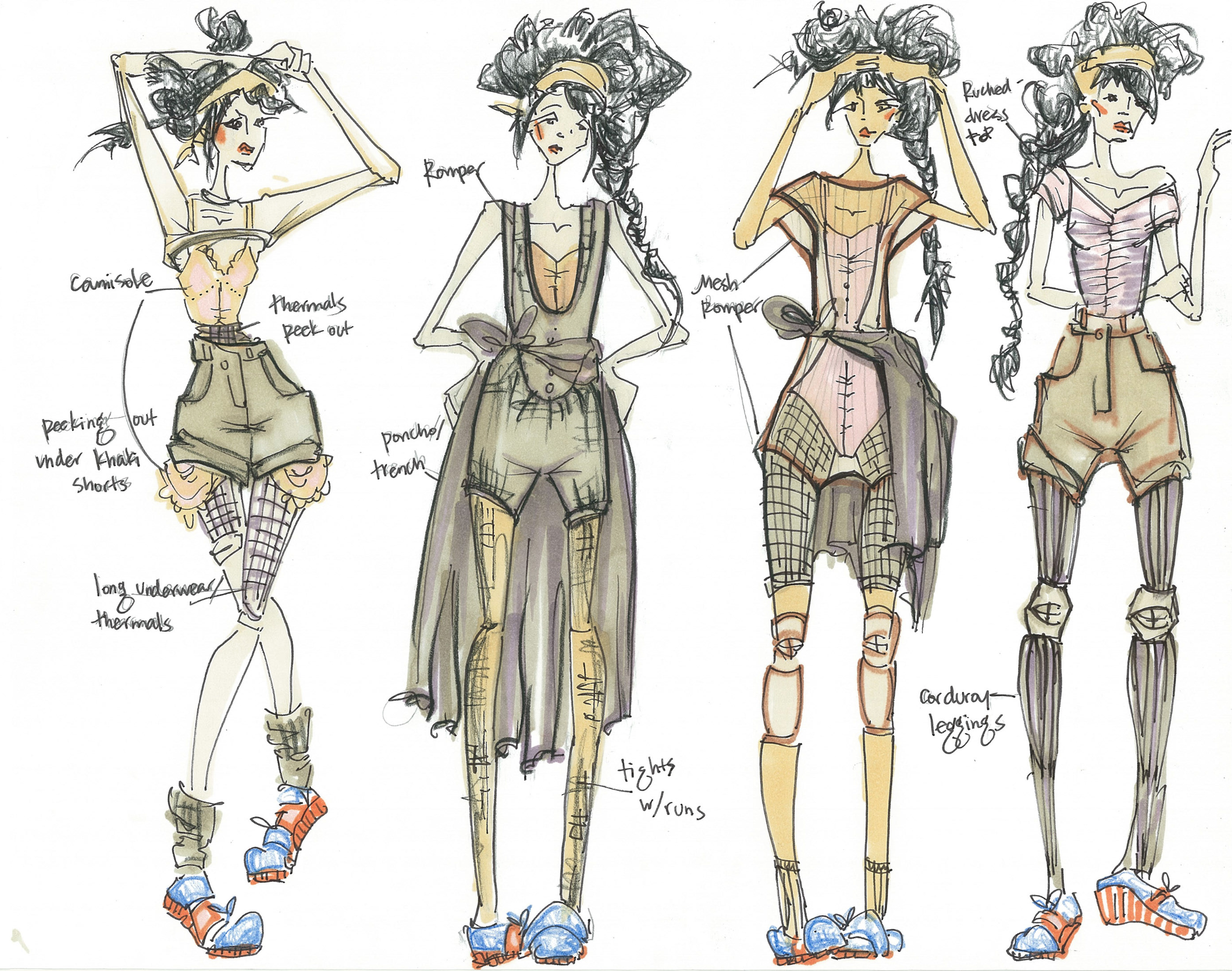 Wardrobe sketches - Rio Soul dance-inspired shoes (2014)