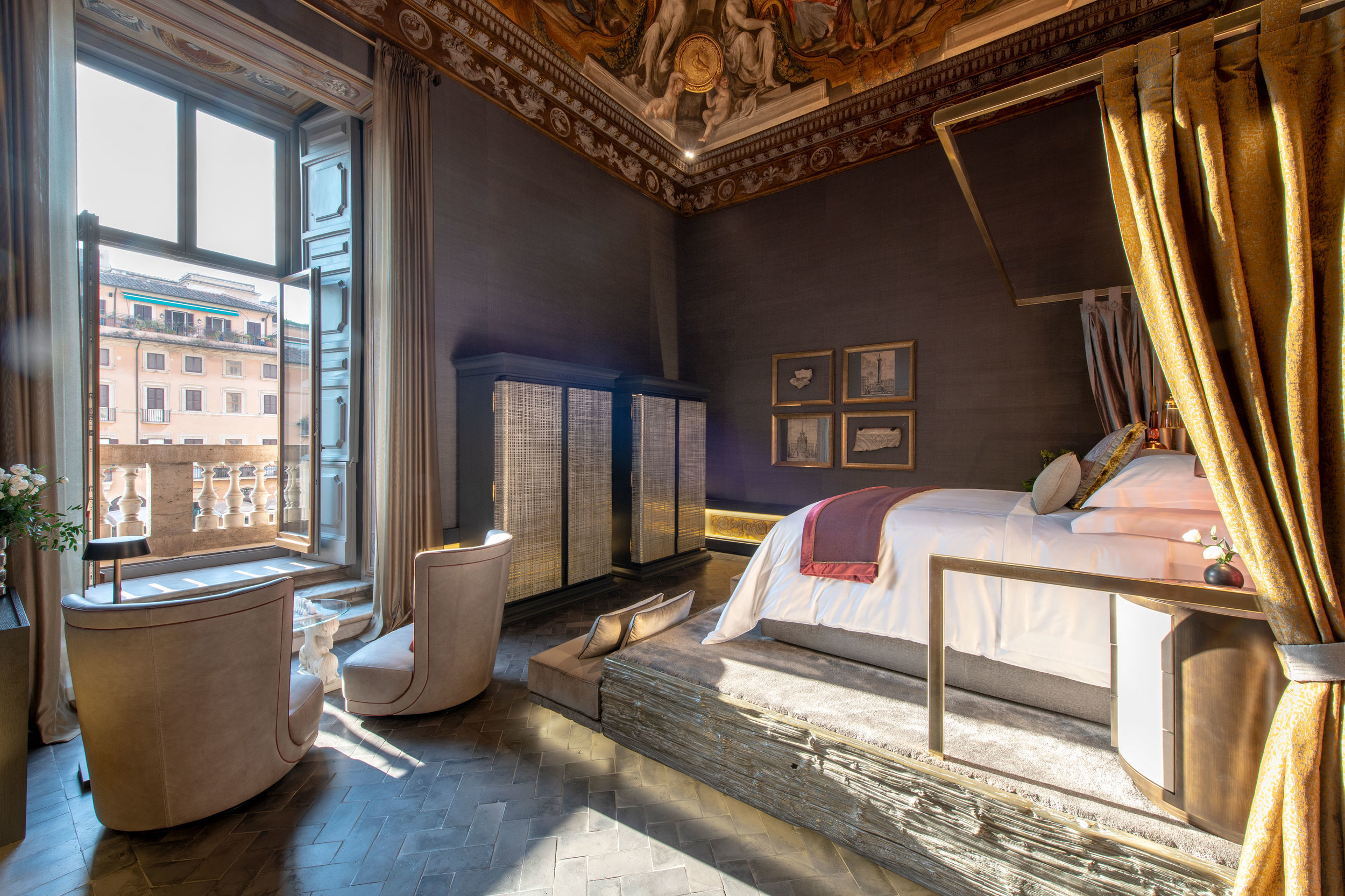 Holy Deer, Rome    Travel through time to fall asleep in Holy Deer, a formal Papal apartment now reborn as The Eternal City's most exclusive abode. Overlooking Piazza Navona, the newest jewel in the crown of the family-owned  San Lorenzo  Lodges, is a 350-m² opulent apartment within a palazzo built by Francesco Borromini – the leading figure of Roman Baroque architecture. Graced with stunning frescoes and balancing past with present, Holy Deer oozes history but provides every luxury of a stylish urban retreat.