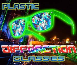 Diffraction Glasses - Plastic Rainbow Fireworks Glasses®     NEW!! Diffraction Glasses - Plastic Rainbow Fireworks Glasses® - Enhances your light show experience. Turn your next electronic party into a fusion of lights, color, music and dance.