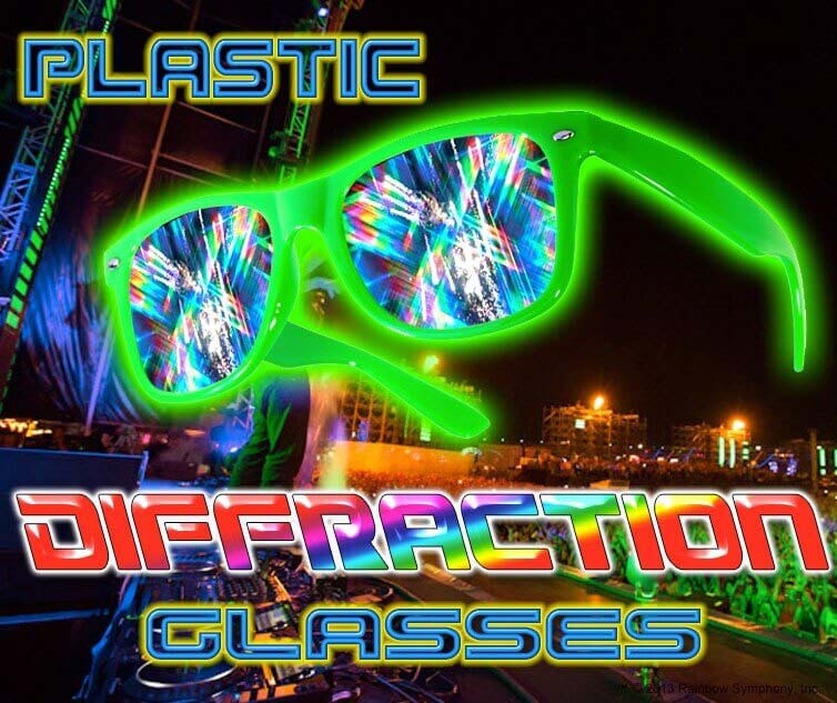 NEW!! Diffraction Glasses - Plastic Rainbow Fireworks Glasses® - Enhances your light show experience. Turn your next electronic party into a fusion of lights, color, music and dance.   Diffraction Glasses - Plastic     Shop Here
