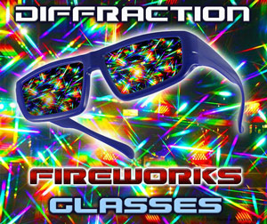 The highest quality hard plastic holographic lenses turn every dot, dash and twinkle into a cascading shower of pure rainbow starbursts. The effect is absolutely spectacular!!   Plastic Fireworks Diffraction Rave Glasses    Shop Here