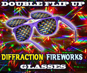Wayfarer Double Rainbow flip glasses. An exciting addition to our Diffraction Rainbow Glasses Line.   Double Rainbow Double Flip Up Diffraction Fireworks Glasses       Shop Here