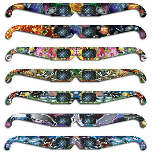Rainbow Glasses  ®    View your world in bright new colors... The rainbow bursts will amaze you! Rainbow Glasses®are printed in a variety of full color graphics with educational information about light and color printed on the backside.