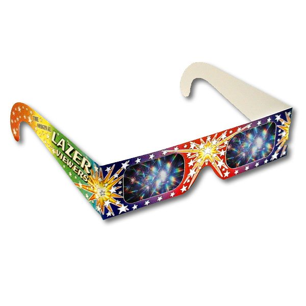 Lazer Viewers™ - Fireworks Glasses ®     Holographic diffraction grating lenses that breaks light into the spectrum or rainbow starbursts. For viewing fireworks displays, laser light shows, holiday and city lights and for the study of light and color.