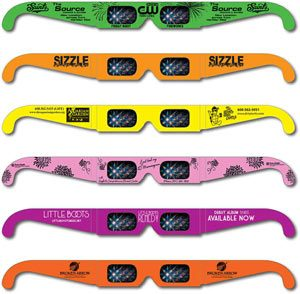 Neon Fireworks Glasses     ®     Custom printed Neon Fireworks Glasses  ®  with company names and logos are ideal for corporate promotions, co-op advertising and large events with multiple sponsors. Inexpensive enough to give away, Fireworks Glasses are the perfect promotional item and are printed on Neon Colors.