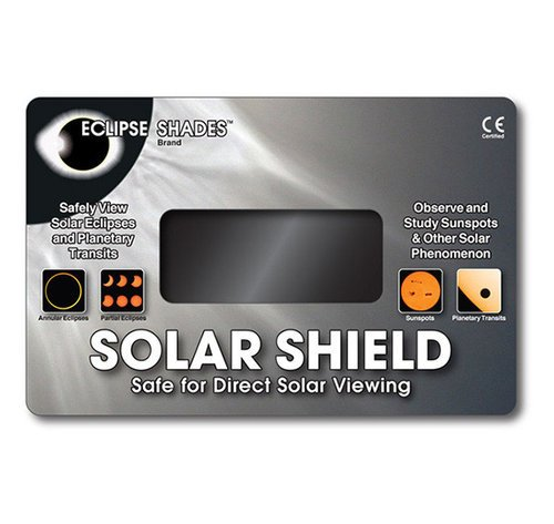 "Solar Shield - Safe for Direct Solar Viewing - 5.5"" X 8.5"" - Black Polymer Lens   07615  Shop Here"