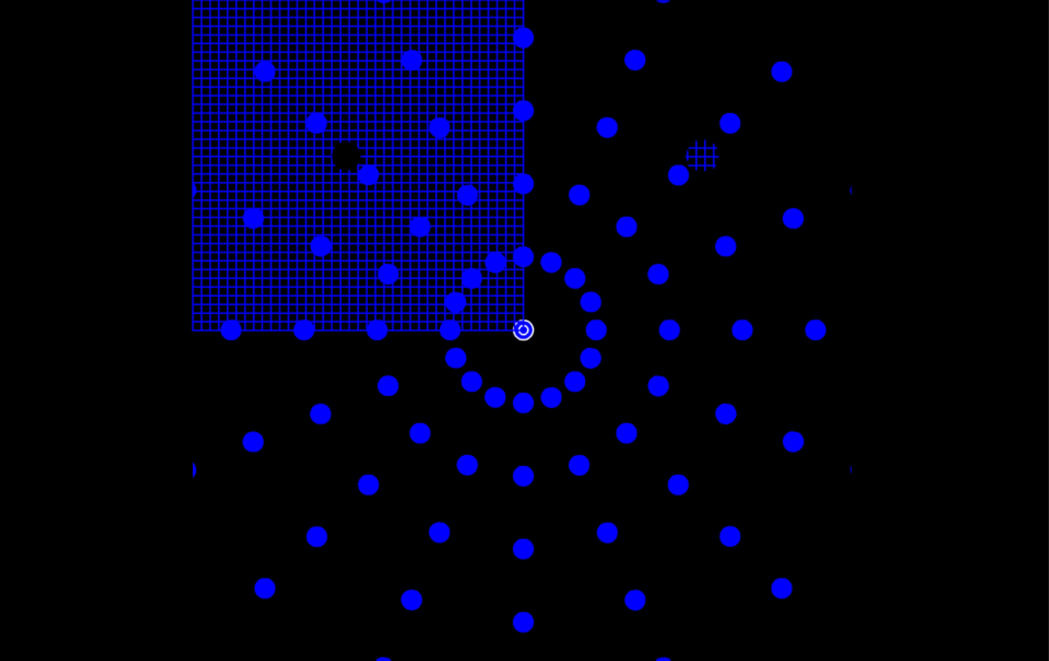 Click on the picture above for a demonstration.    Fixate the center circles while attending to the hole in the center of the blue grid.