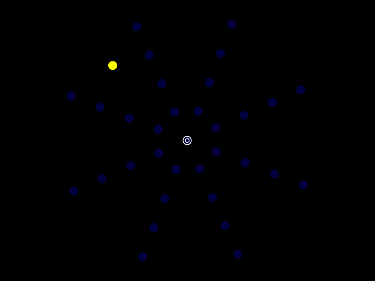 Click on the picture above for a demonstration.     Fixate the center circles while attending to the yellow circle in the upper left quadrant of the display.