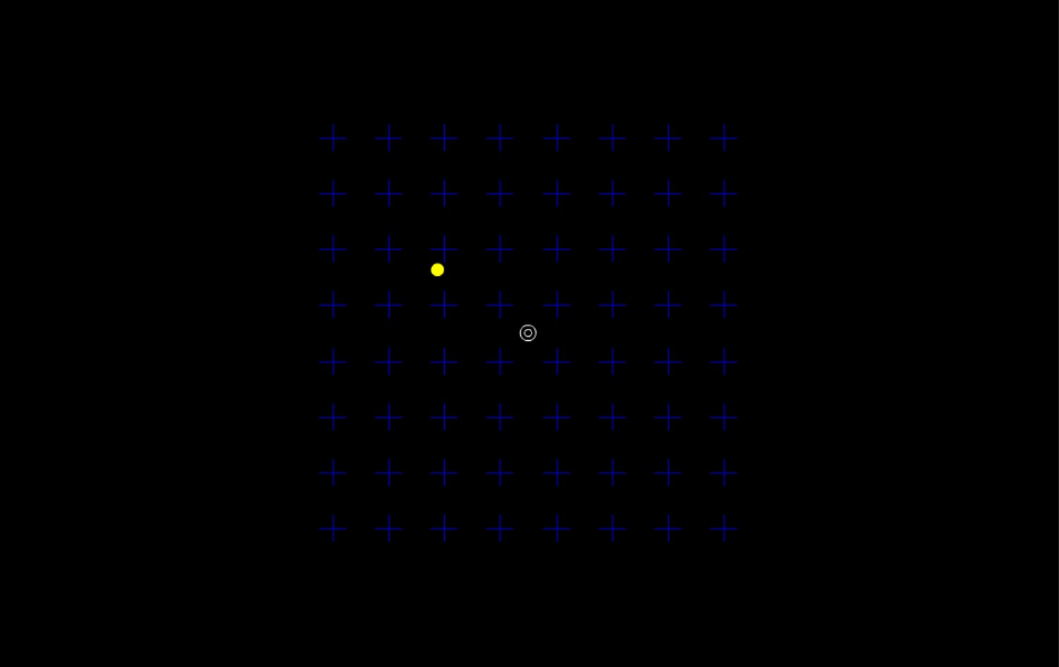 Click on the picture above for a demonstration of a typical MIB display.     Fixate the center circles while attending to the yellow circle oscillating in the upper left quadrant of the display.