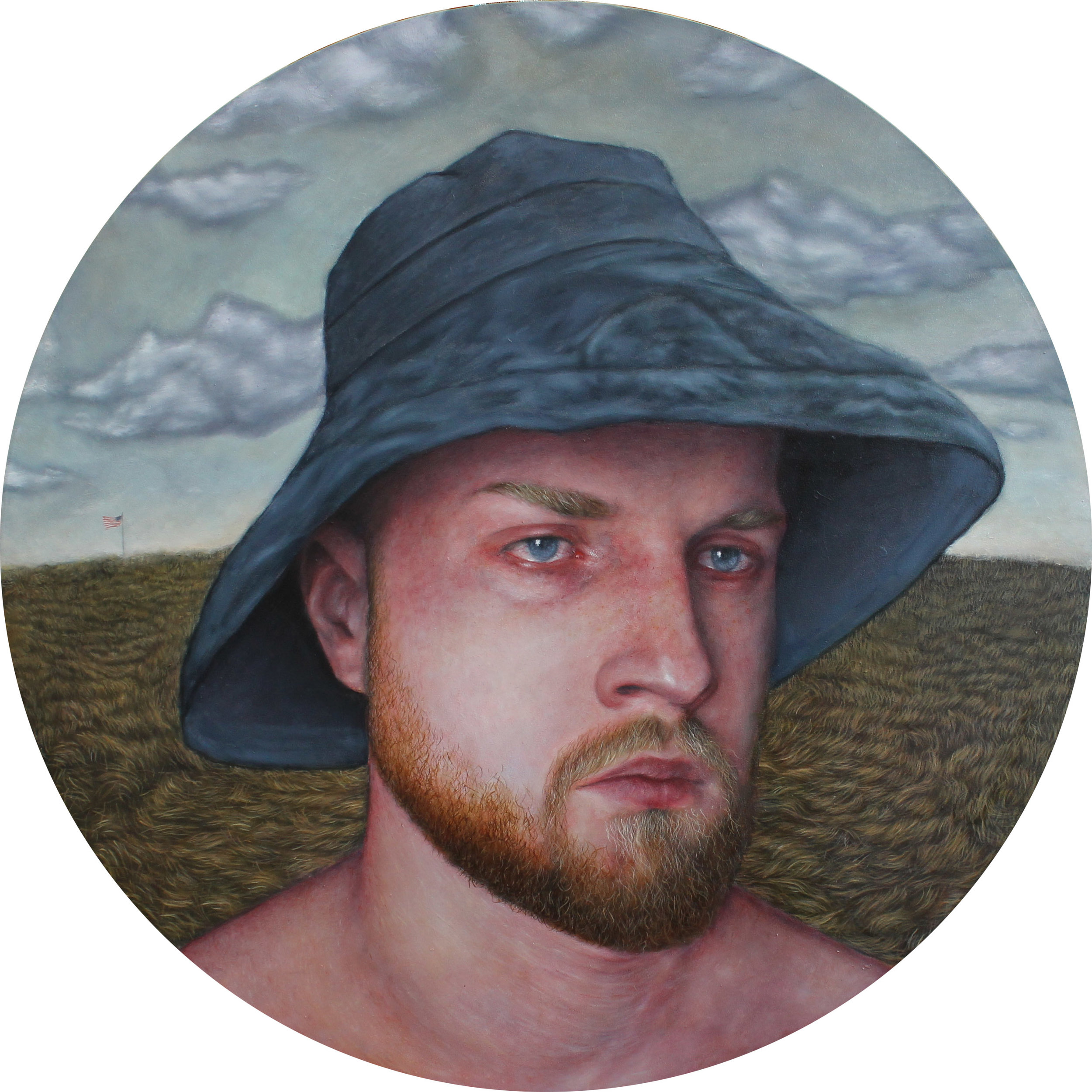 """Privately Defined World"", Oil on Wood, 28"" Diameter, 2019"
