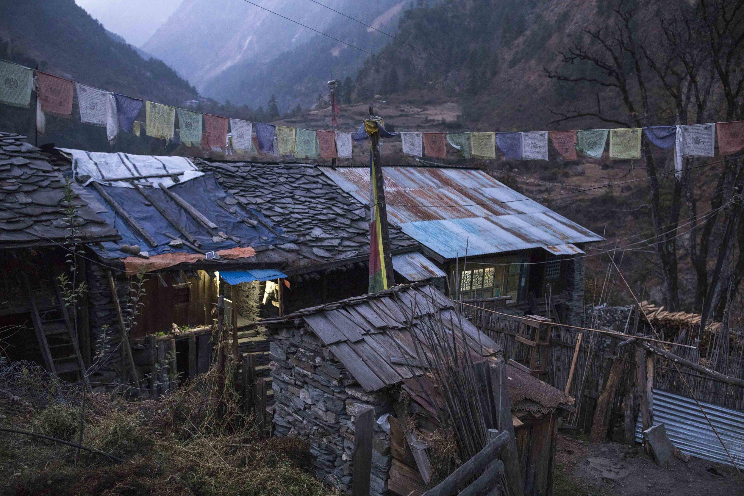 Tibetan settlement, Namrung in Nupri valley Nepal.