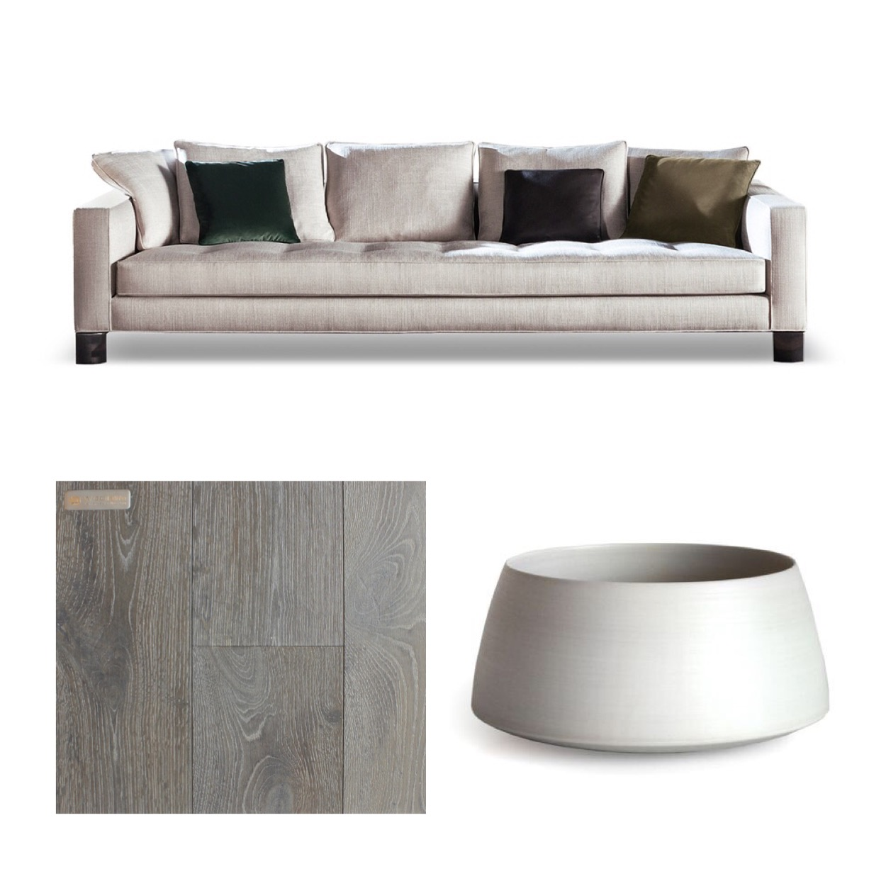Pollock Sofa by Minotti |  Living Space Vancouver   Rina Menardi Mono Vase |  Provide Home   European White Oak Eternal Grey |  Woodlife