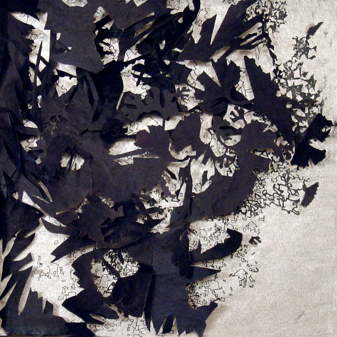 Indigo Paper Relief Sculptures