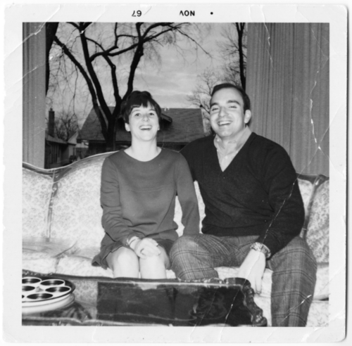 A polaroid of Michelle's parents.