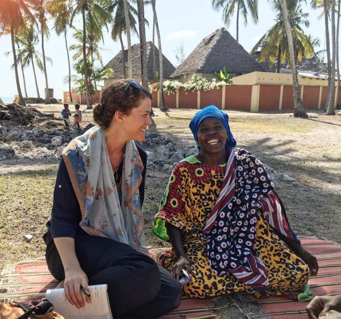 Avery and a woman in Zanzibar
