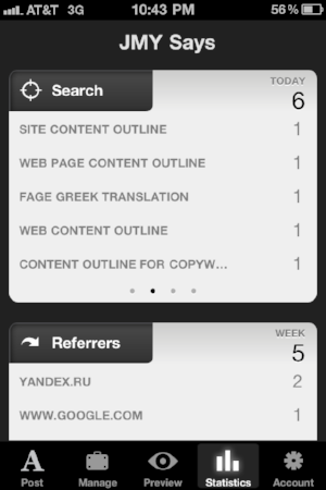 Squarespace iPhone App Analytics Screen