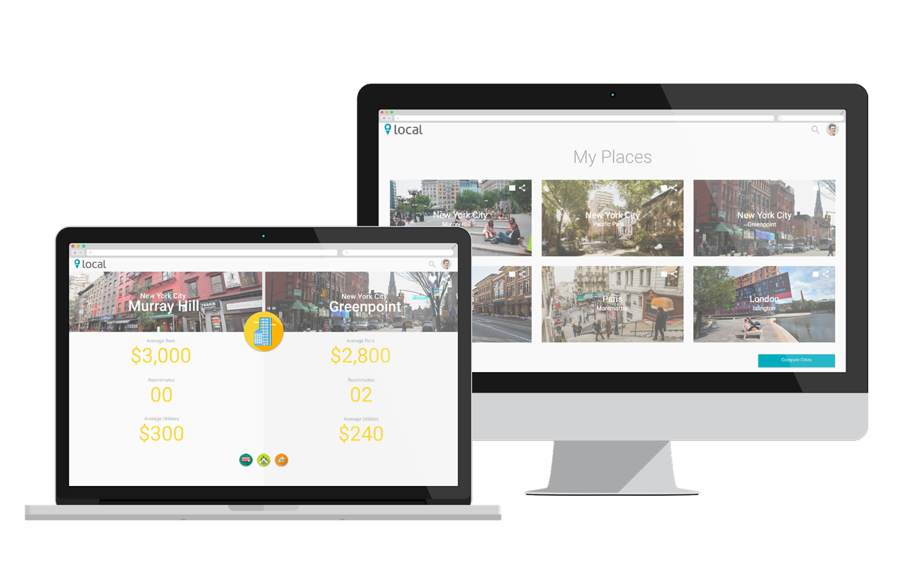 Compare places. - Save your favorite neighborhoods and compare factors of your lifestyle side-by-side.