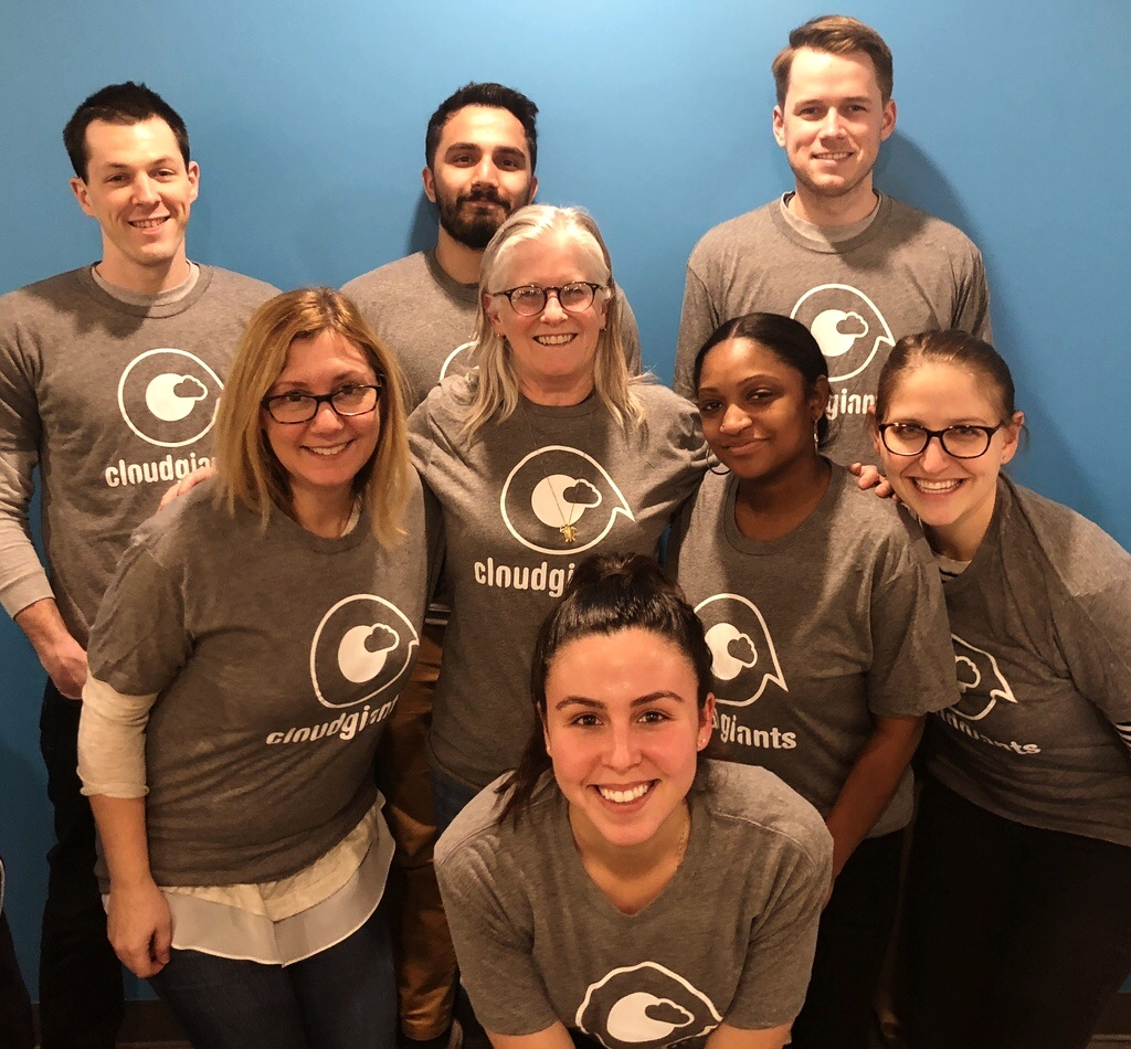 Jadaya Miller (middle row, second from right) with members of the Cloud Giants team.