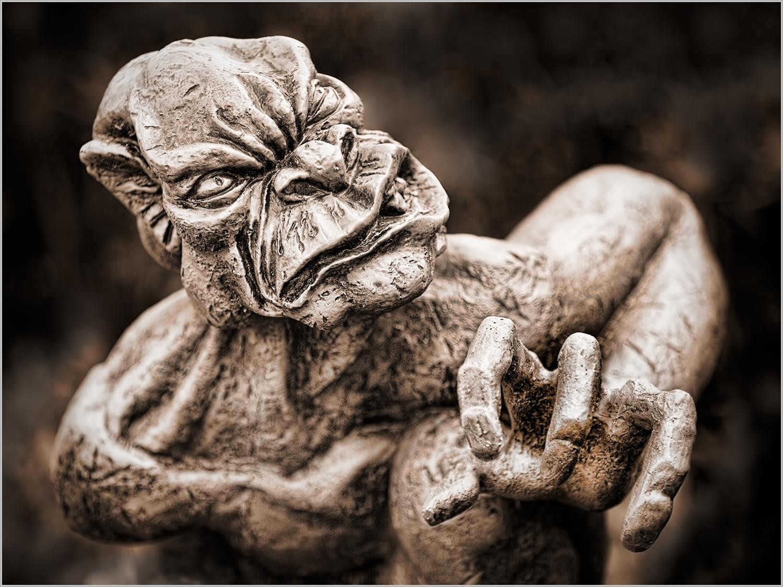 A gargoyle displaying anger
