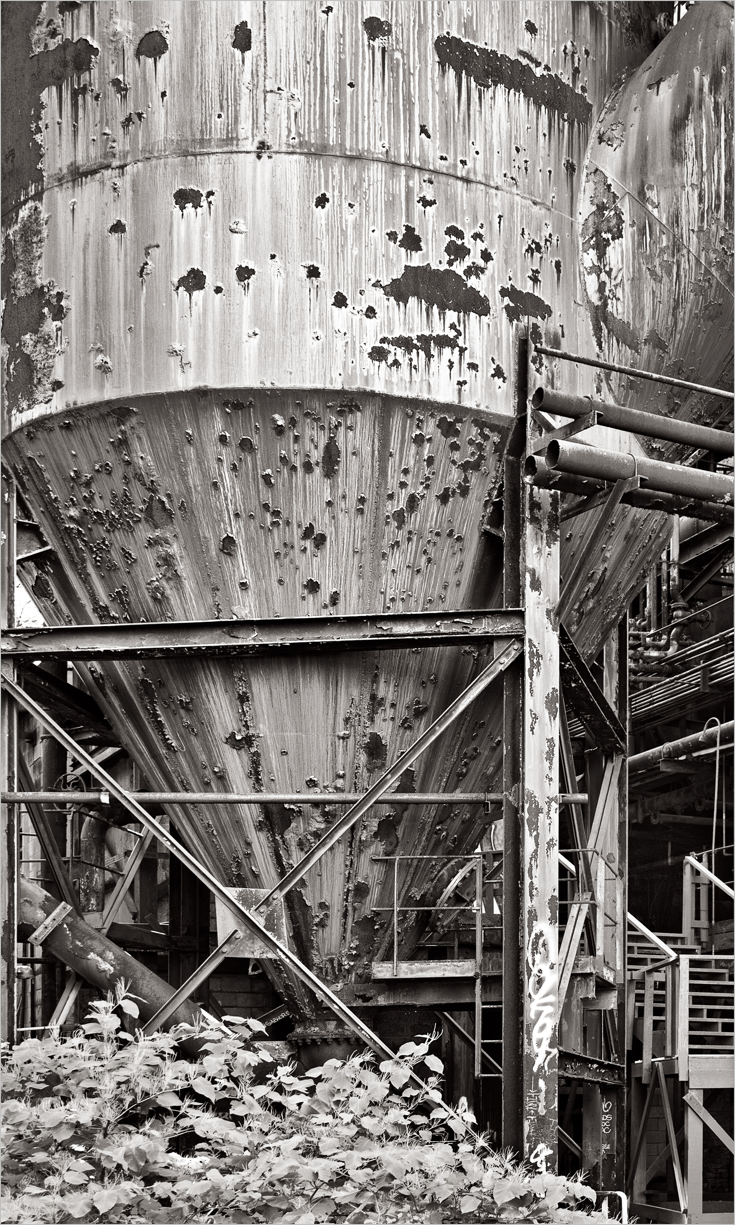 Carrie Furnace downcomers. These were used to collect and recycle wastes from the furnace.