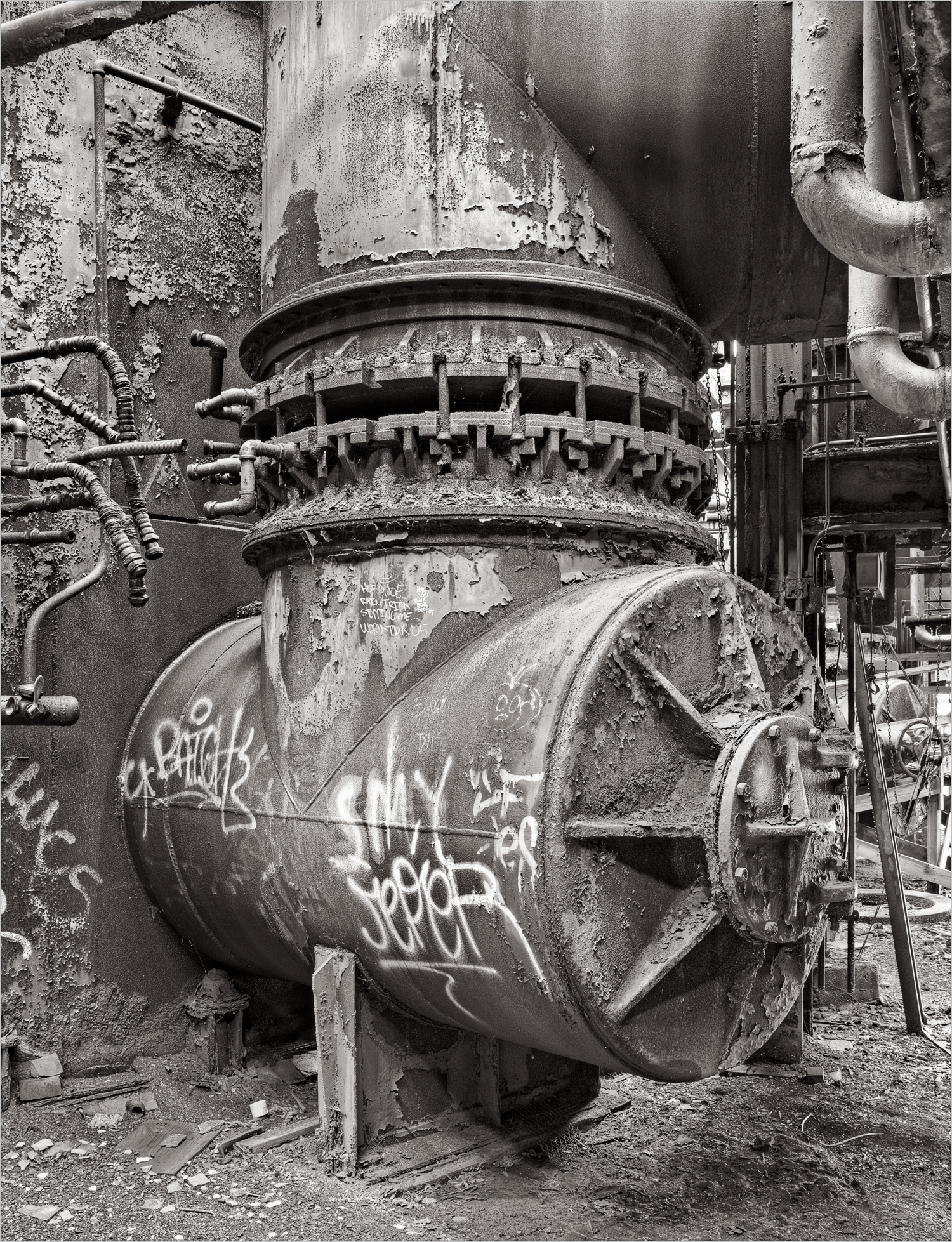 A graffiti covered stove in the Stove Room at the Carrie Furnace.