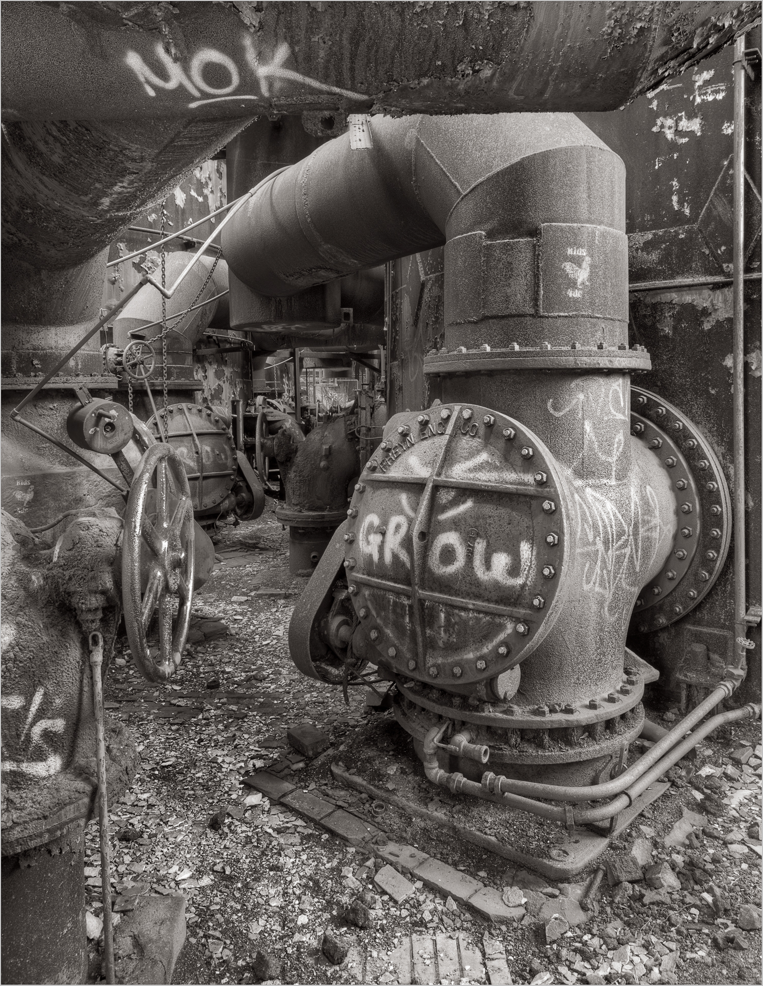 Photograph of the Stove Room at the Carrie Furnace. The Stove Room was an extremely dangerous place to work because of the toxic gases that could be released.
