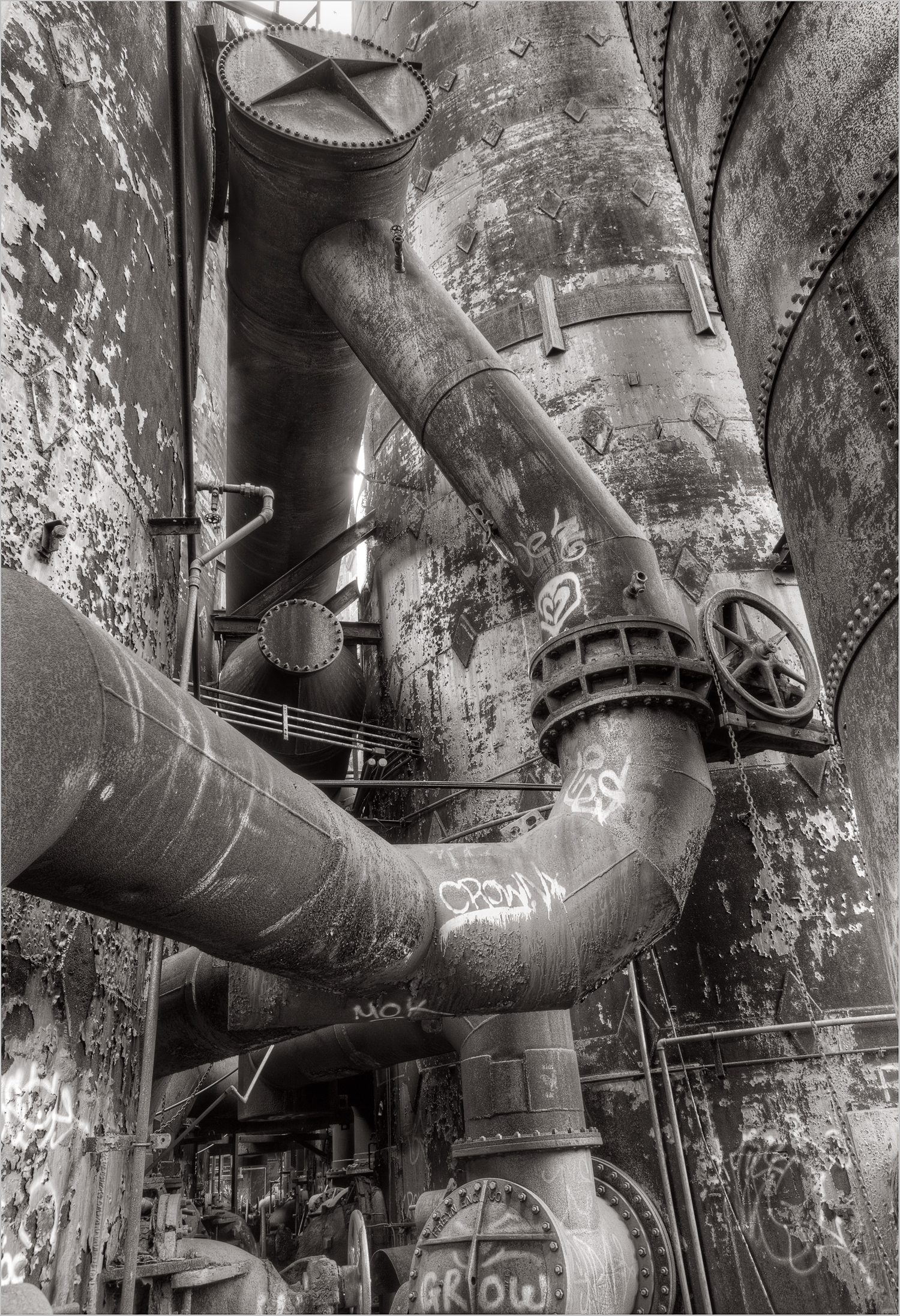 Massive pipes were used to draw air into the stoves at the Carrie Furnace.