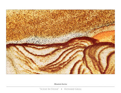 A mountain sunrise seen as an abstract photograph in a piece of stone