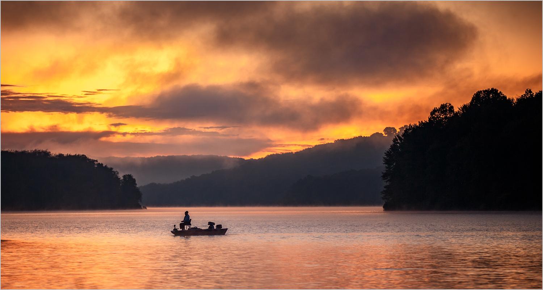 Fishing boat on Lake Arthur in Pennsylvania's Moraine State Park.