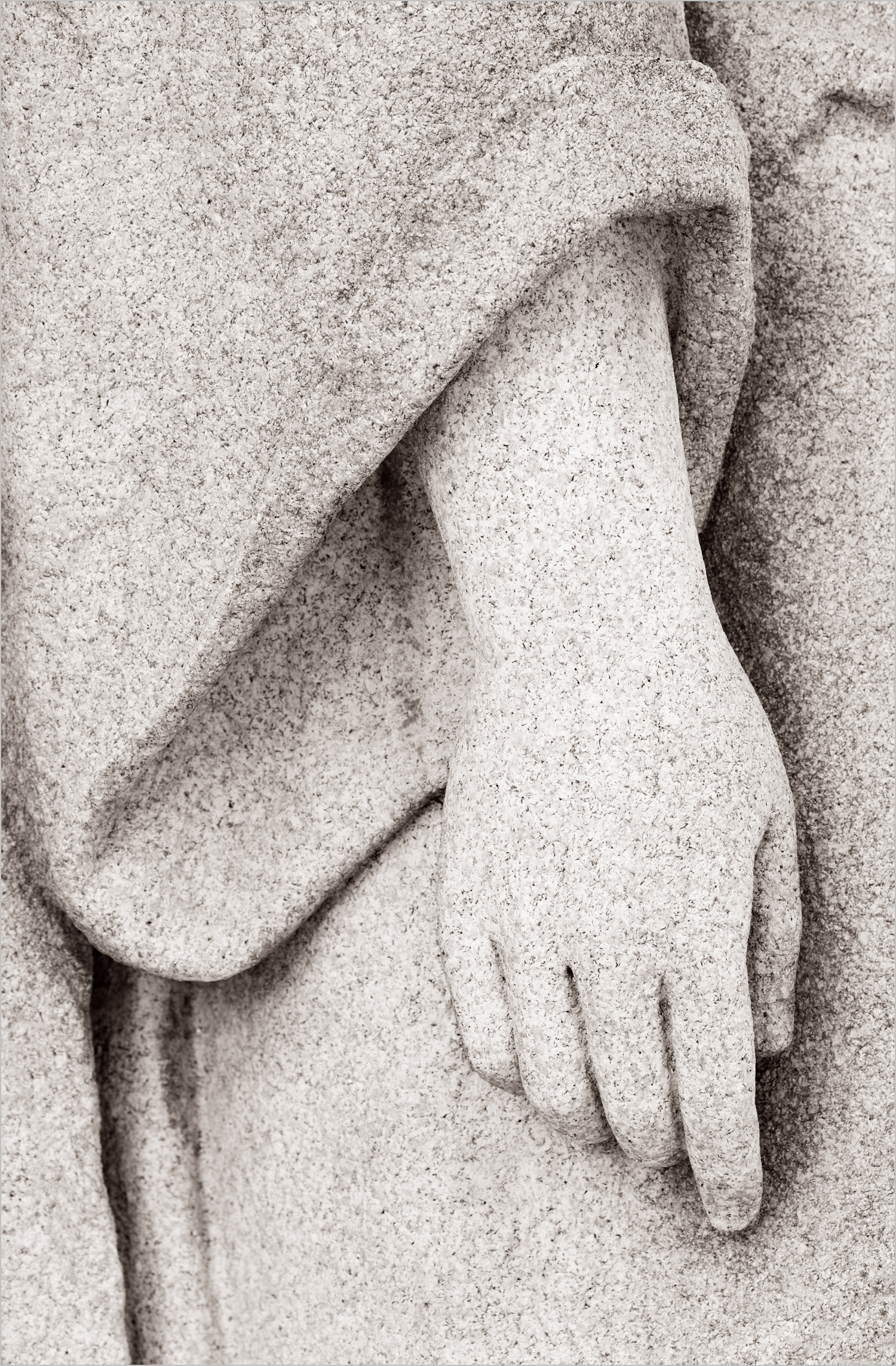 Hand of a gravestone statue in Homewood Cemetery, Pittsburgh