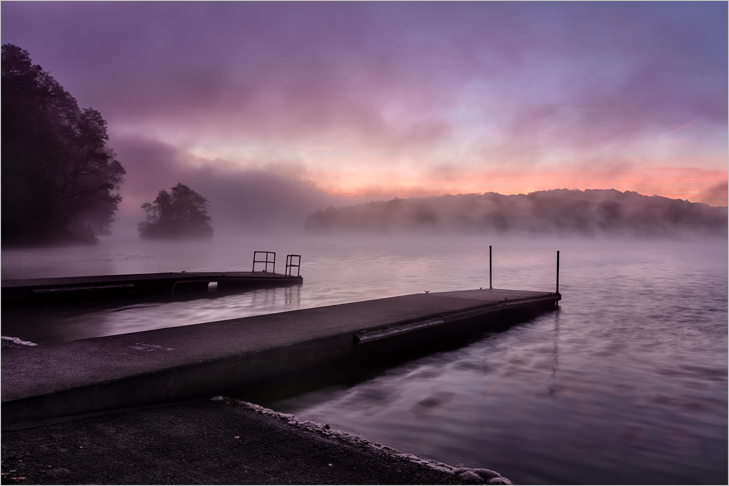 Foggy Sunrise Over Lake Arthur