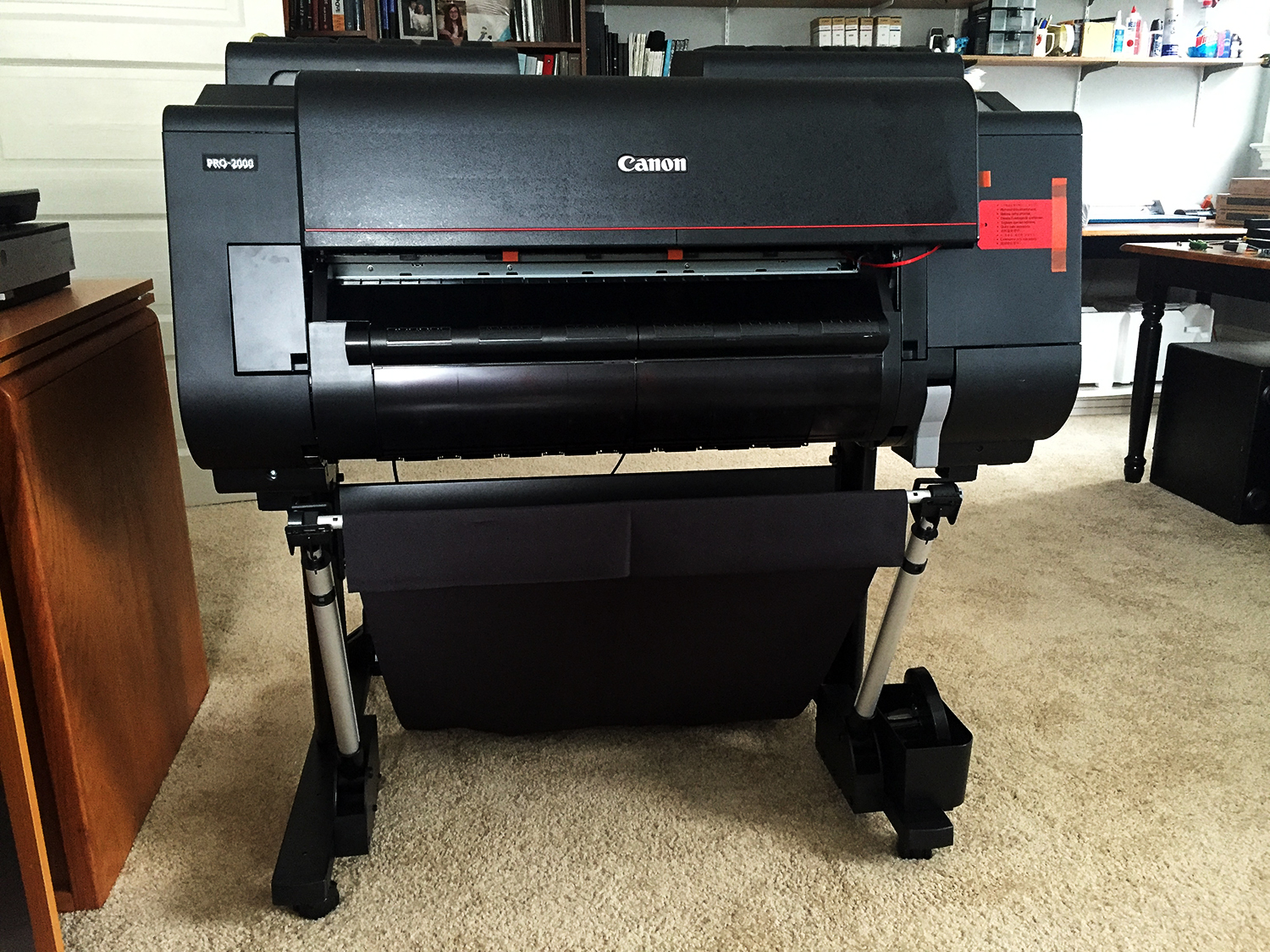 The Canon ImagePrograf 2000 makes it to its third floor 'resting place'