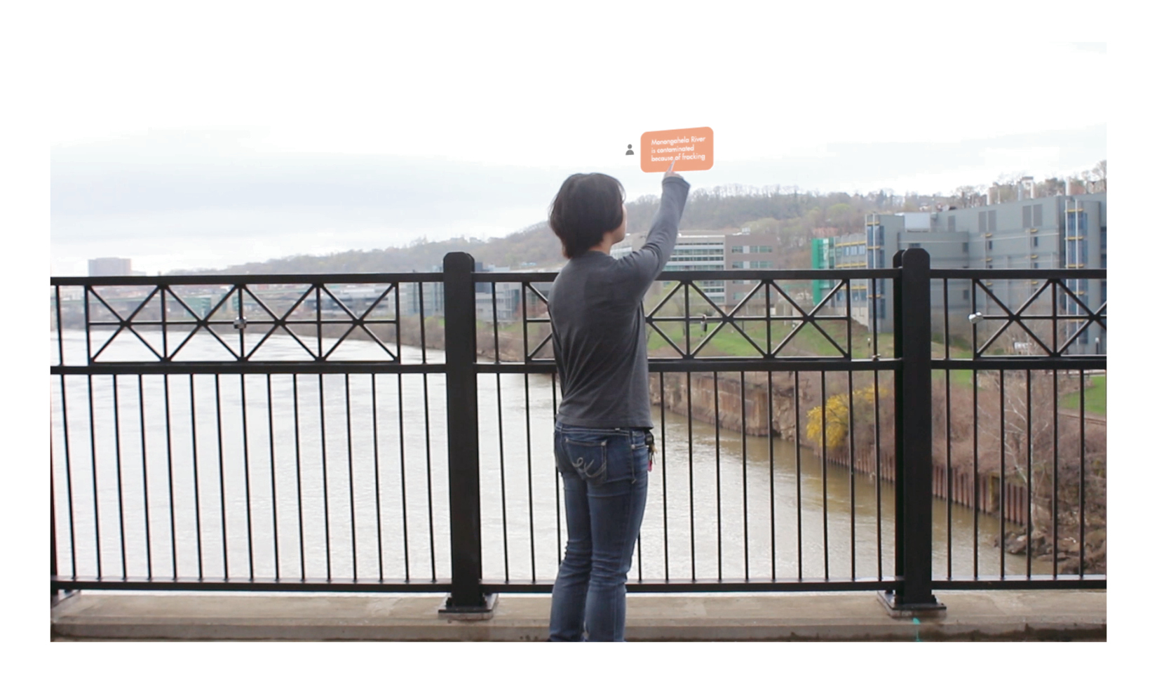 As she passes the Monogahela River, a bubble pops up prompting her with an opportunity to learn more.
