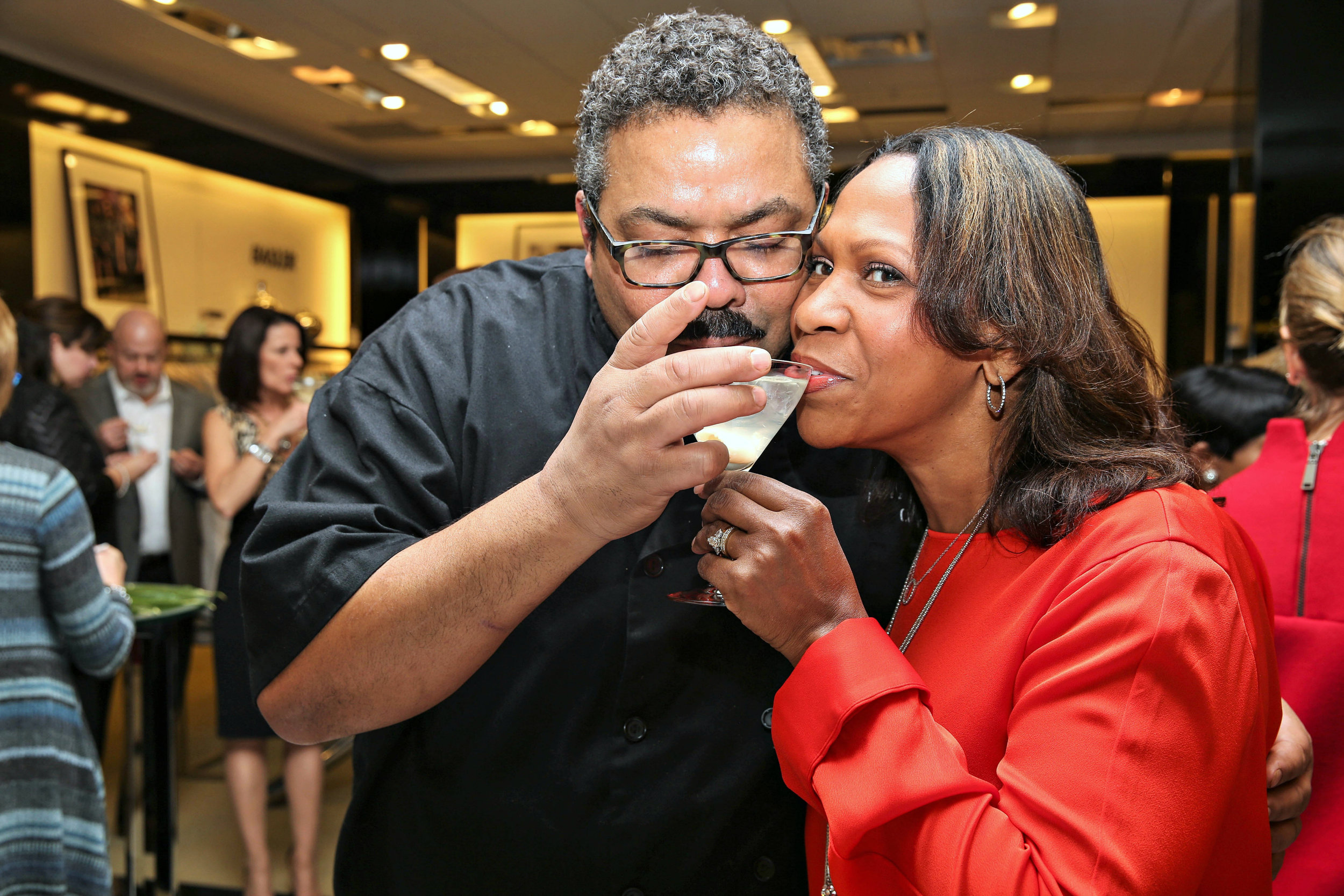 Chef Juan and Judith Toast with a Lichi-tini