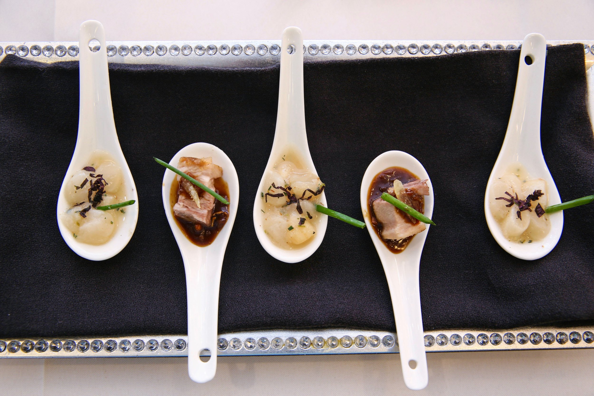 Bay Scallop and Pork Belly Spoonsful