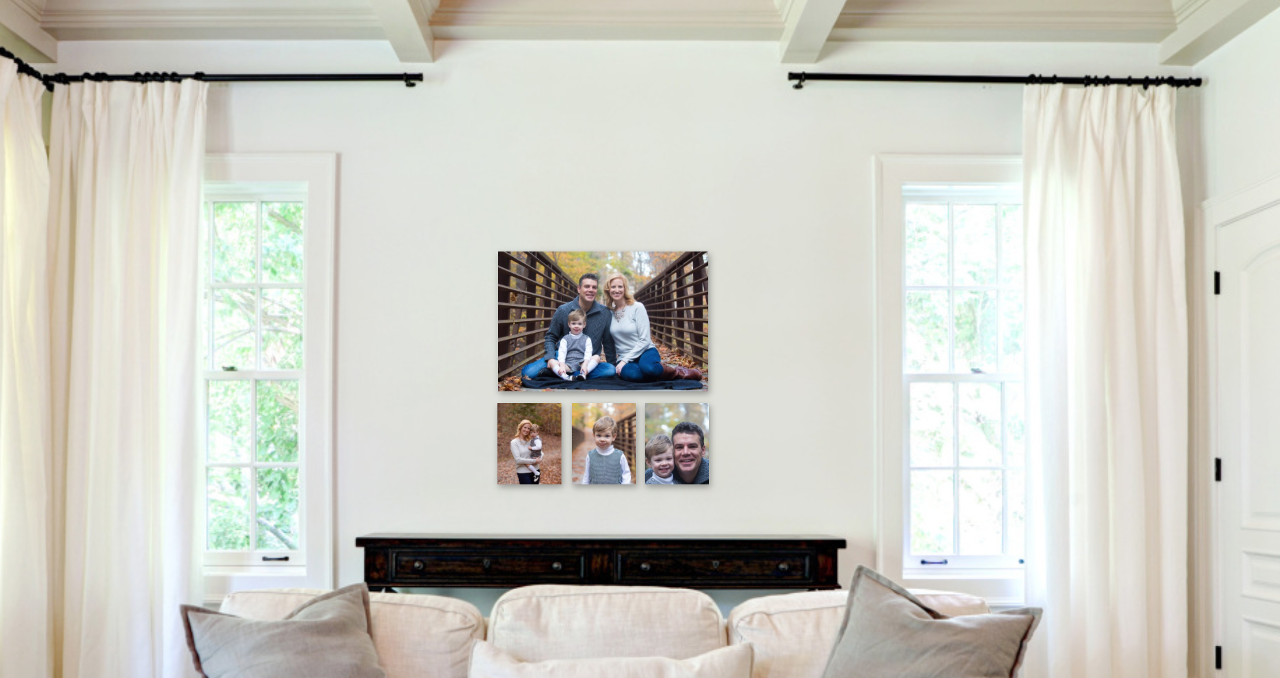 Fall family photos displayed nicely in living room.