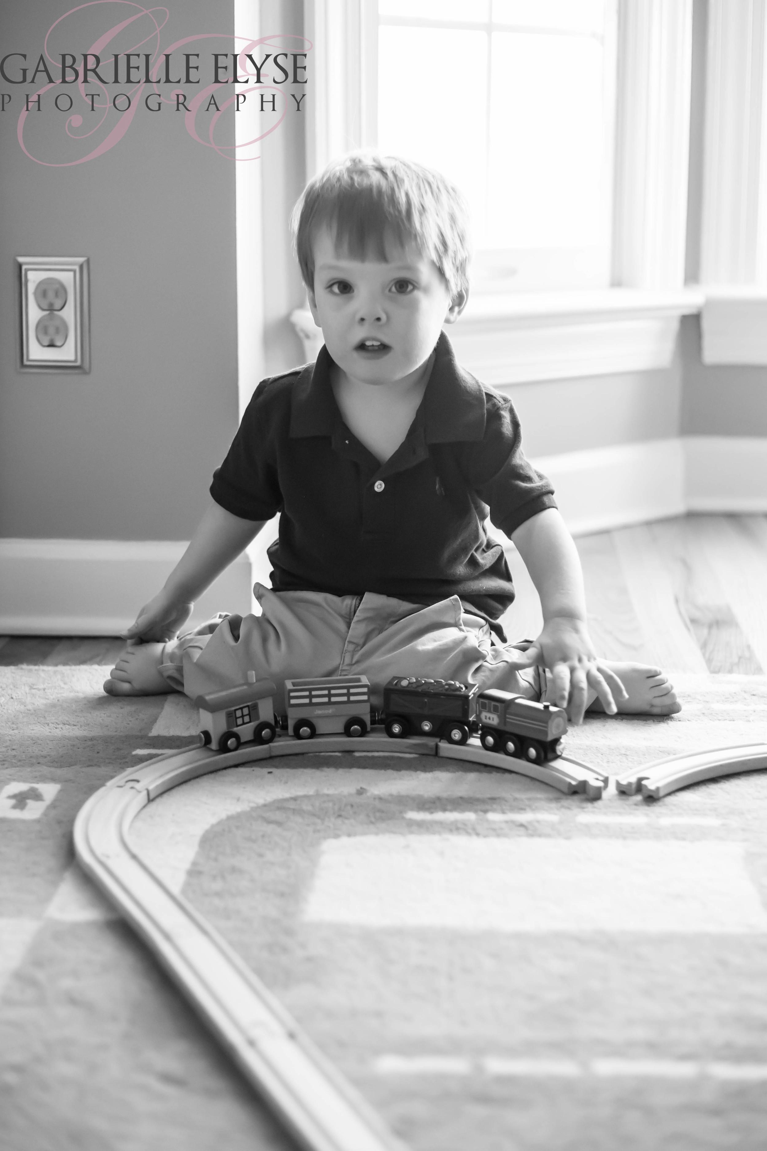 Big Brother playing with his trains- choo choo