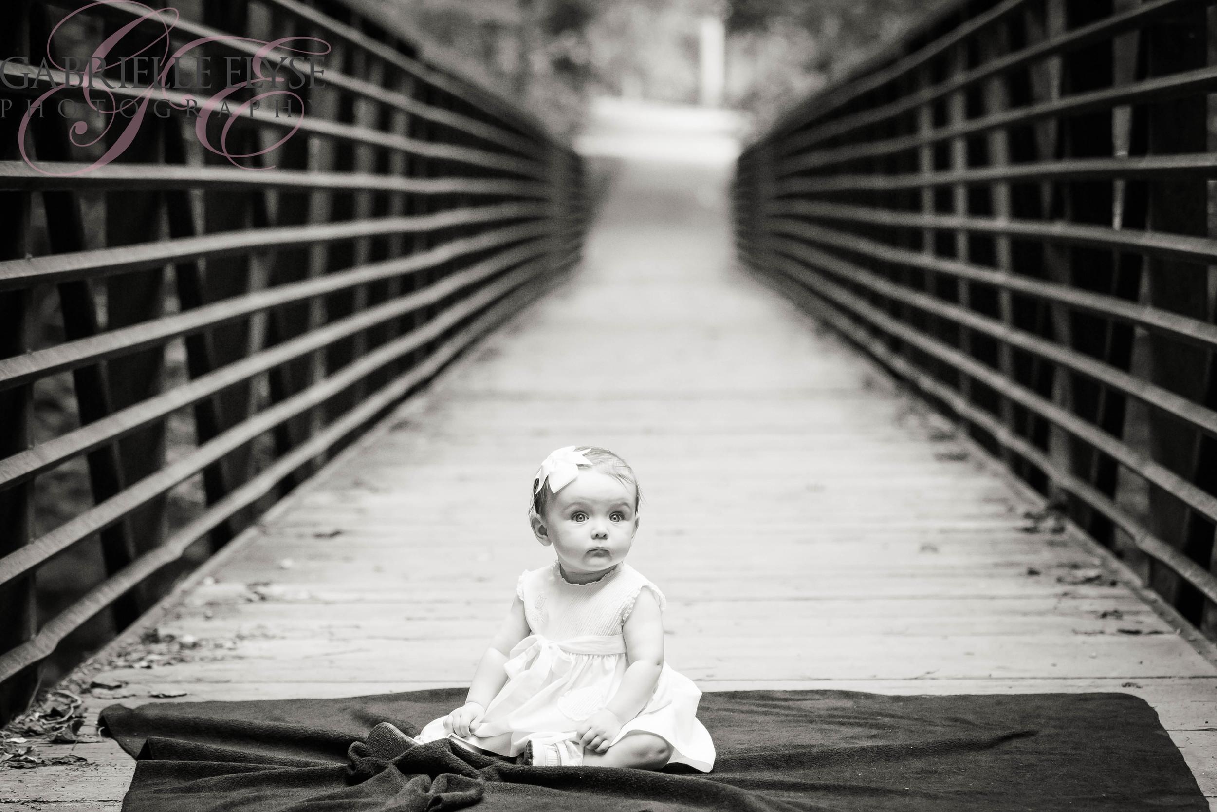 black white 6 month girl bridge