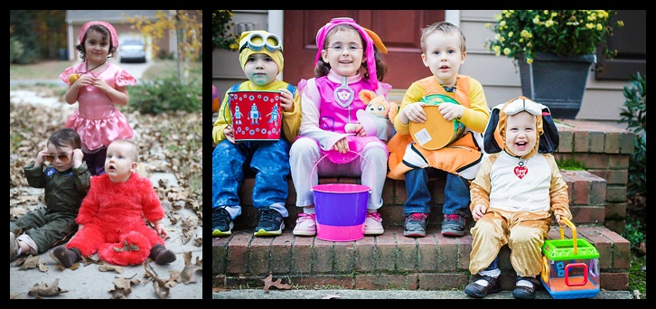 So I love this picture because this is a comparison of the kids from the first Halloween in Raleigh and then this year.  I need to find last year's and add it too!  The best part is going from 3 friends to 4 :)