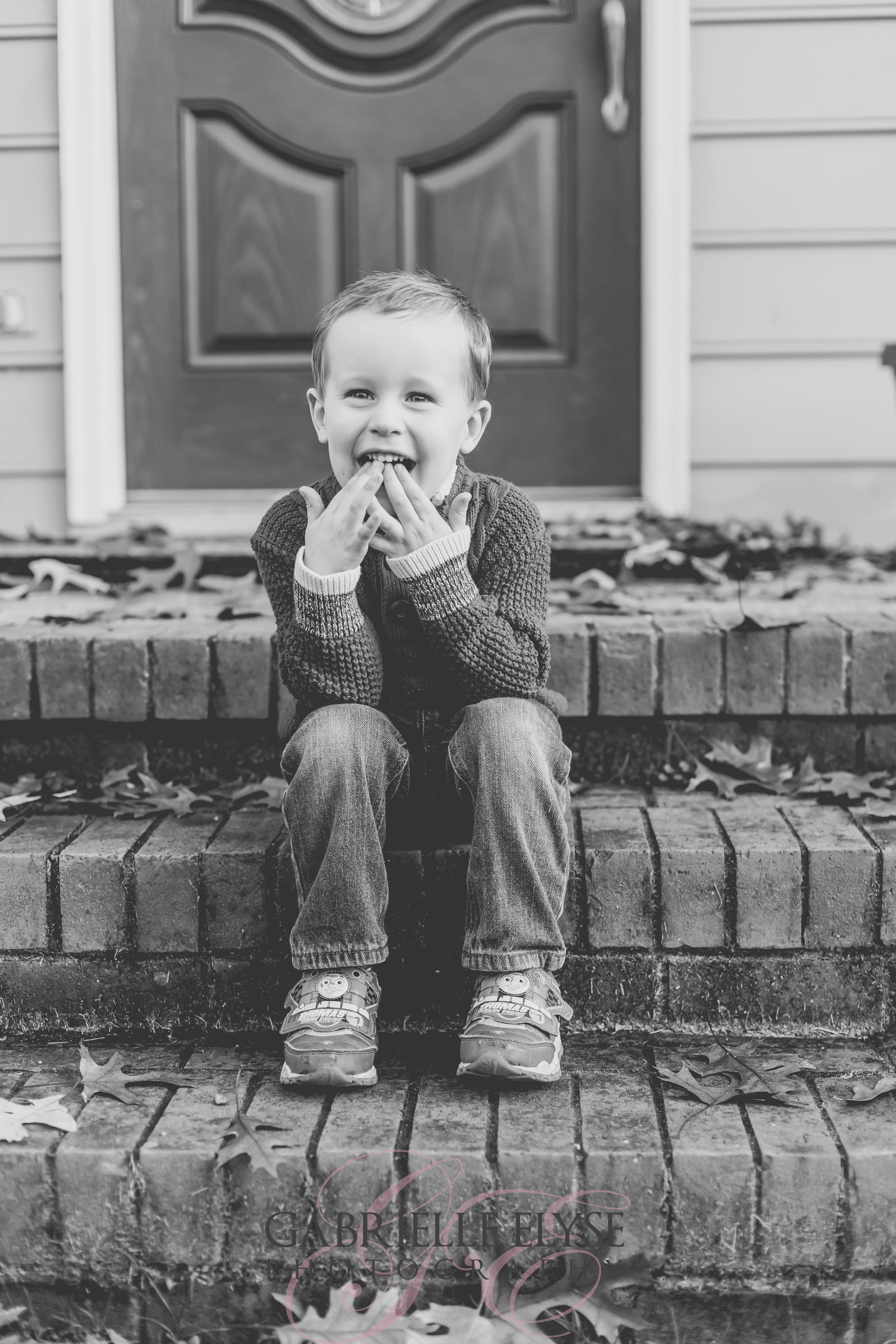 black and white kid photo