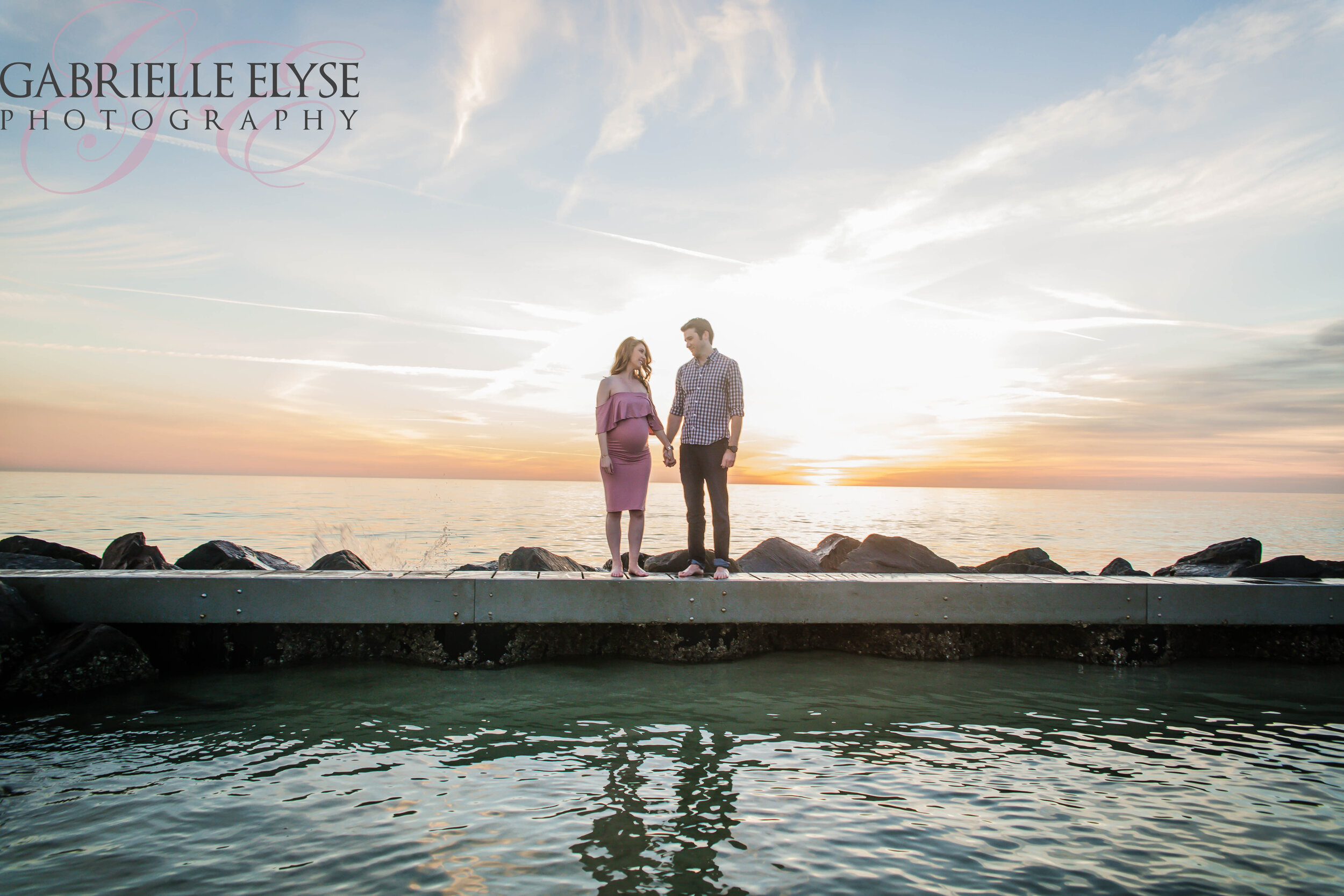 Beach sunset maternity session Gabrielle Elyse Photography