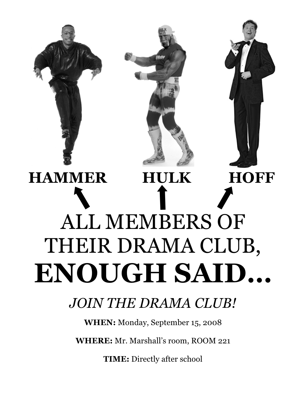 RECRUITMENT POSTER #1 FOR OUR FIRST EVER DRAMA CLUB