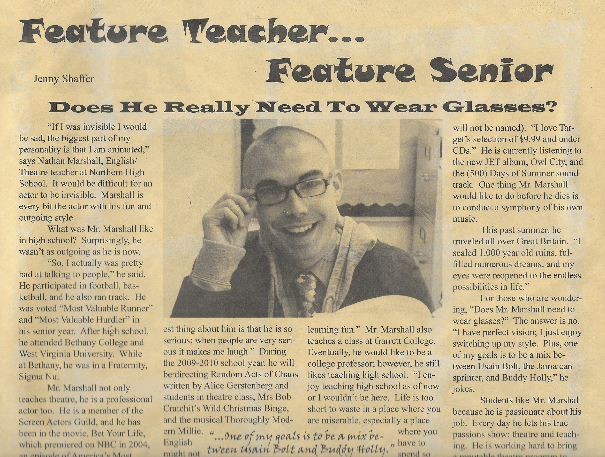 I WAS THE FEATURED TEACHER IN THE NHS NEWSPAPER DURING MY FIRST YEAR OF TEACHING