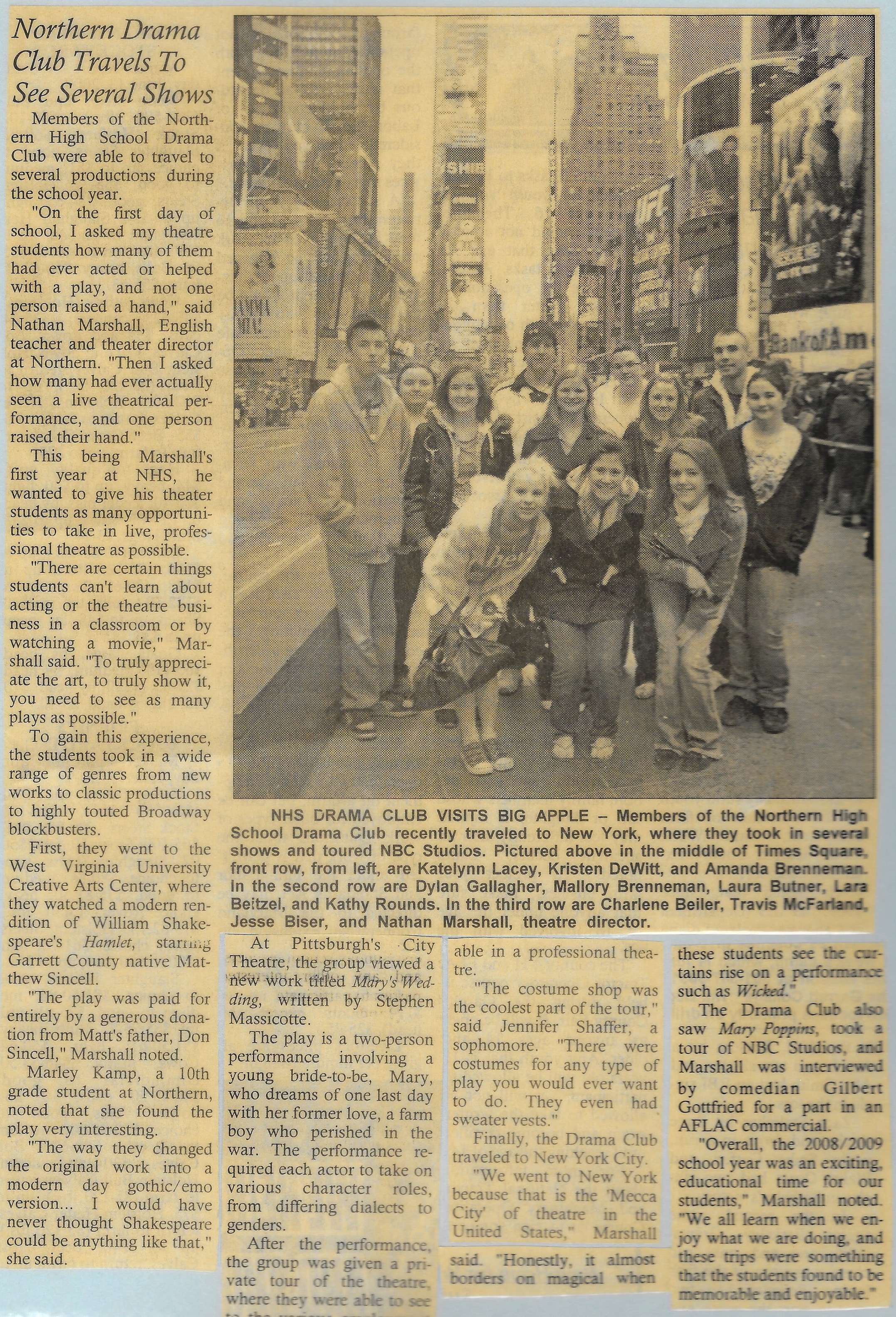 SOME PRESS ON THE FIRST TOUR I LED TO NEW YORK CITY