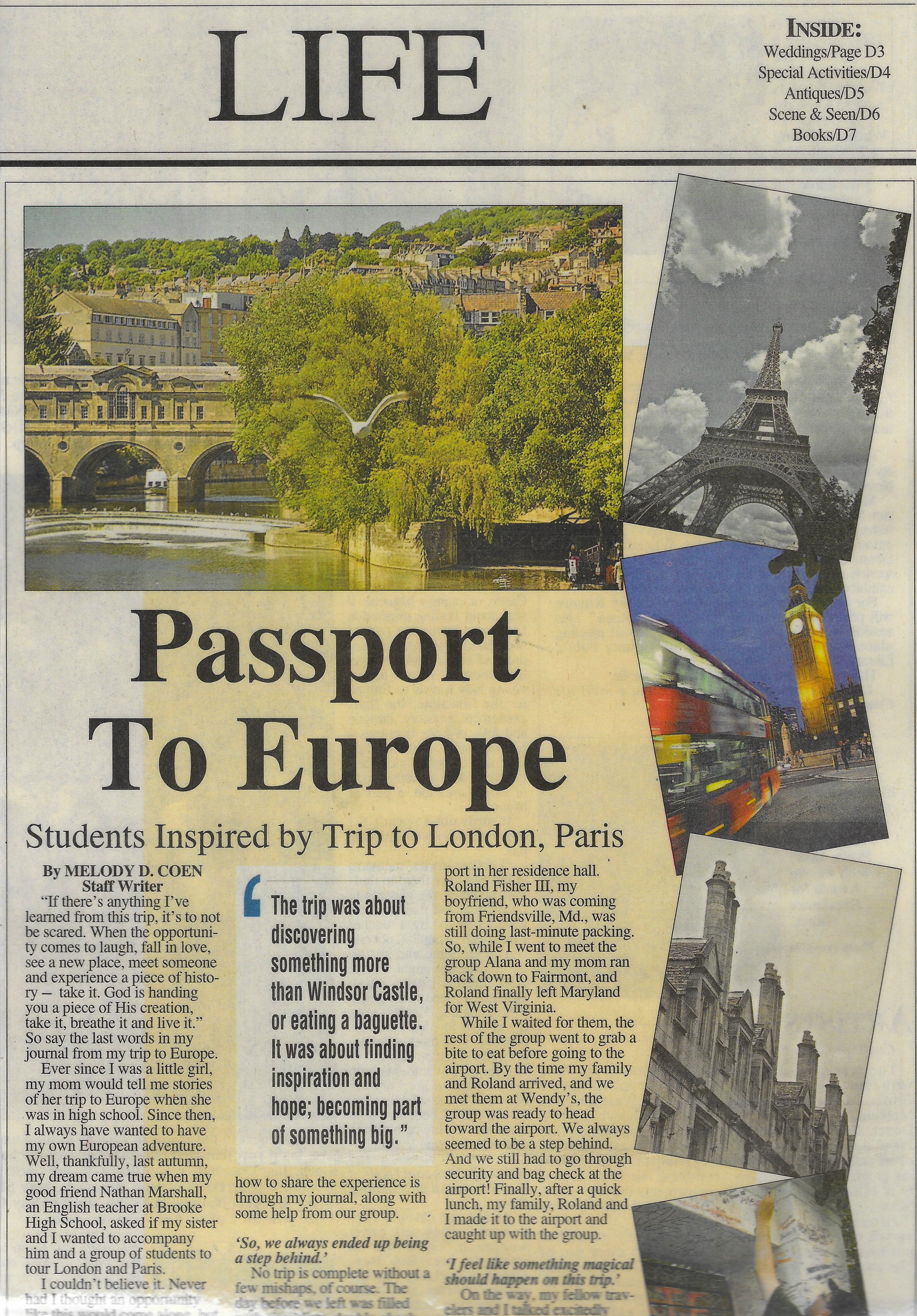SOME PRESS FROM THE TOUR I LED IN 2011. CLICK HERE TO READ THE ENTIRE ARTICLE