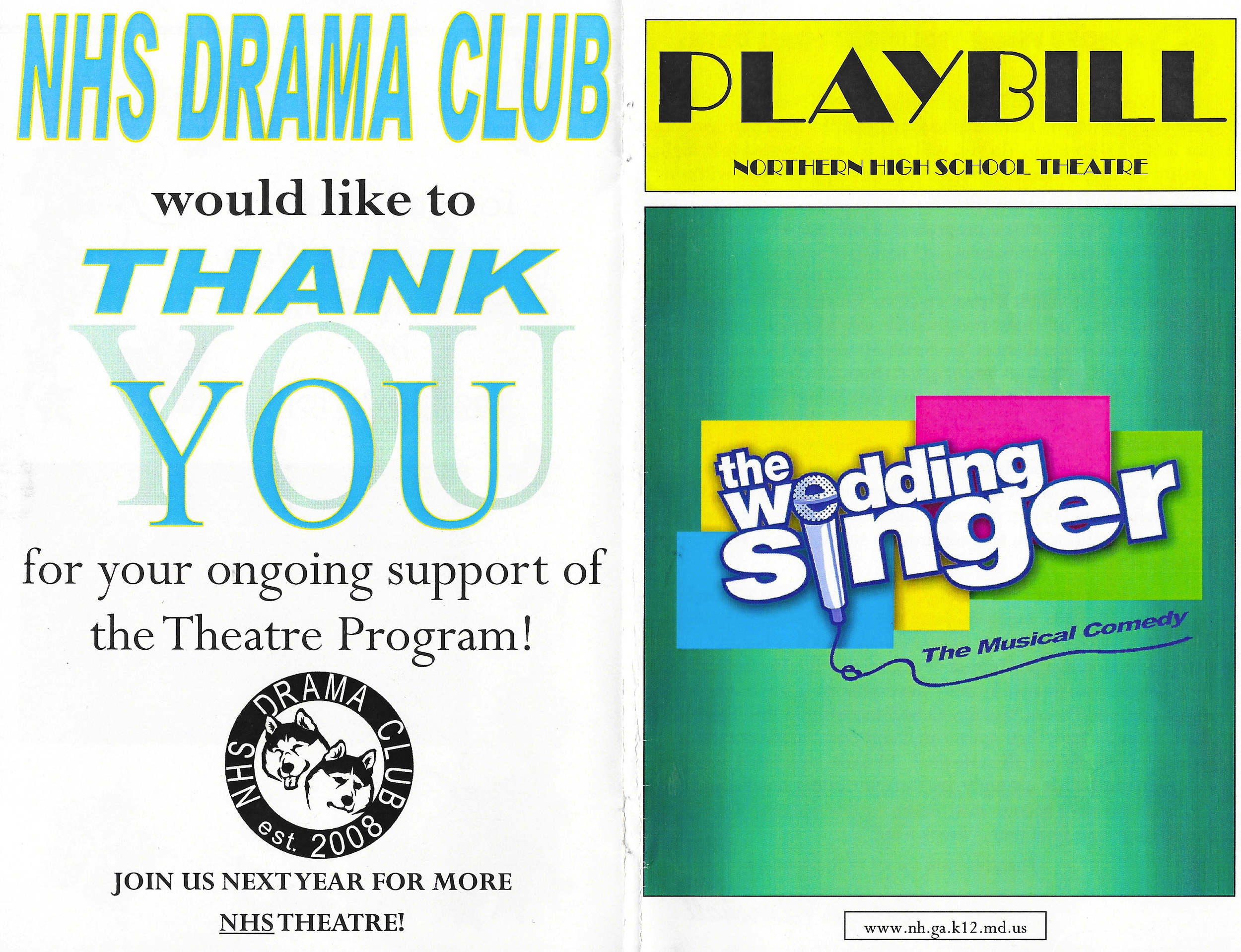 OUR WEDDING SINGER PLAYBILL