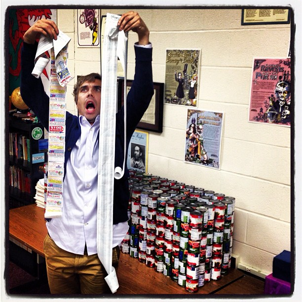 THOSE LONG RECEIPTS ARE FROM A LOT OF CANS WE PURCHASED FOR A CANNED FOOD DRIVE
